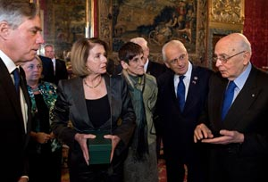Nancy Pelosi and Congressiona delegation meets Giorgio Napolitano